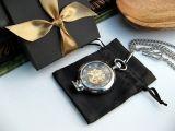 Карманные часы с лупой на цепочке скелетоны