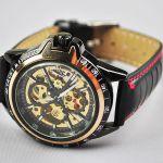 Наручные чёрные часы скелетоны Fashion