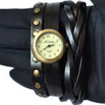 Необычные часы стимпанк с кожаным ремешком