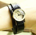Кожаный браслет часы унисекс