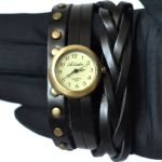 Кожаный браслет стимпанк с часами