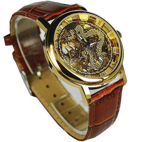 Мужские часы скелетоны с изображением
