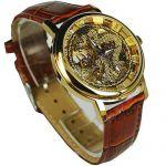 Мужские часы скелетоны с изображением дракона